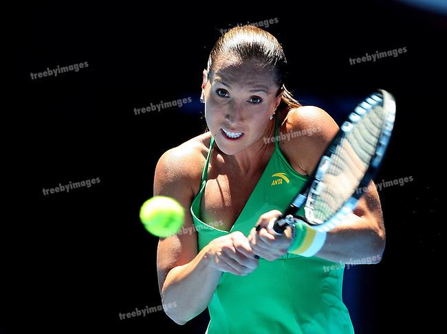Jelena Jankovic in action during Round 1 Australian Open tennis, Jelena Jankovic of Serbia v Yvonne Meusburger of Austria 19-01-09