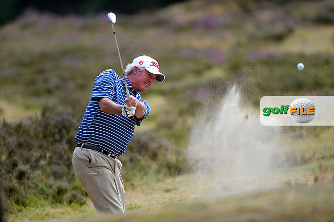 Russ Cochran of USA hits from a bunker during the First Round of The Senior Open at Sunningdale Golf Club, Sunningdale, England. Picture: Golffile | Richard Martin-Roberts<br /> All photo usage must carry mandatory copyright credit (&copy; Golffile | Richard Martin- Roberts)