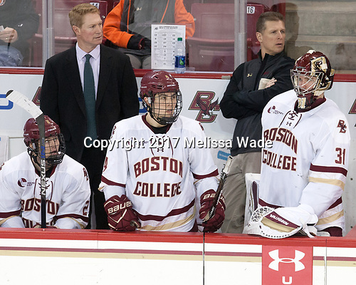 Scott Savage (BC - 2), Greg Brown (BC - Associate Head Coach), Michael Kim (BC - 4), Bert Lenz (BC - Director-Sports Medicine), Joe Woll (BC - 31) - The visiting Merrimack College Warriors defeated the Boston College Eagles 6 - 3 (EN) on Friday, February 10, 2017, at Kelley Rink in Conte Forum in Chestnut Hill, Massachusetts.