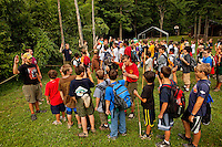 Boy Scouts attending Boy Scout resident camp at Camp Raven Knob in summer 2010 prepare to head out on a hike. Camp Raven Knob Scout Reservation, one of the largest Boy Scout camps in the United States, is located within Boy Scouts of America's Old Hickory Council in Mt. Airy, North Carolina. Troops from across the US attend the camp's one-week residential boys' summer programs, which offer instruction on more than 40 merit badges, adventure programs and new Scout orientation.