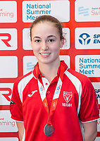 Picture by Allan McKenzie/SWpix.com - 05/08/2017 - Swimming - Swim England National Summer Meet 2017 - Ponds Forge International Sports Centre, Sheffield, England - Niamh james takes silver in the womens 16yrs 100m backstroke.