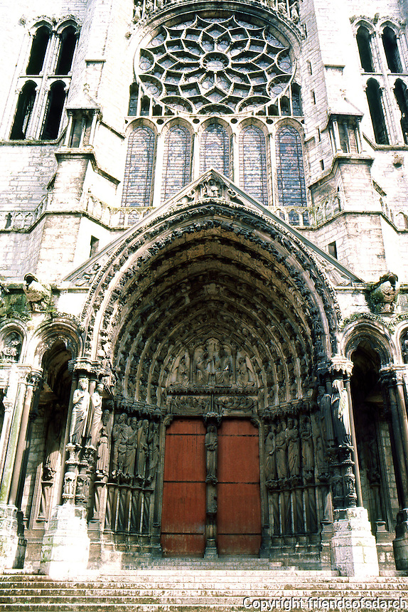 Chartres: Cathedral, north transept, porch. Photo '87.