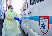 Paramedics in the city of Drammen wearing personal protective equipment (PPE) in order to transport patients during the Covid-19 , coronaviraus, pandemic.<br /> <br /> <br /> ©Fredrik Naumann/Felix Features