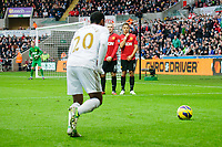 Sunday, 23 November 2012<br /> <br /> Pictured: Jonathan de Guzman of Swansea City<br /> <br /> Re: Barclays Premier League, Swansea City FC v Manchester United at the Liberty Stadium, south Wales.