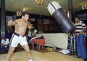 Heavyweight Champion Muhammad Ali hits a bag as he trains for his fight against Jimmy Young in Arlington, Virginia on April 20, 1976.  Watching the Champ train at right is assistant trainer Drew Bundini Brown.<br /> Credit: Arnie Sachs / CNP