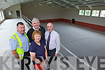 Duagh Community and Sports Centre is near completion and will be ready to open this September. Pictured were: Tommy Healy, Fr Pat Moore, Geraldine McNamara and Neilus Collins.