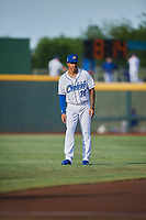 Adalberto Mondesi (26) of the Omaha Storm Chasers before the game against the Round Rock Express at Werner Park on May 27, 2018 in Papillion , Nebraska. Round Rock defeated Omaha 8-3. (Stephen Smith/Four Seam Images)