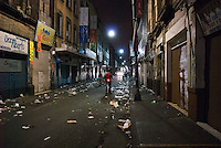 Correo Mayor a street in the historic center, strewn with the days garbage from street vendors. Photos from night bike ride in Mexico City's historic center with Luis Mdahuar and Mike Smith.  Mexico DF, Tuesday May 1, 2007