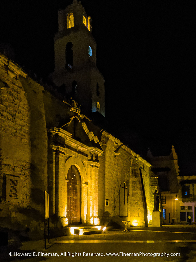 Old Havana church at night