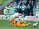 MOTHERWELL'S TOM HATELEY CHALLENGES CELTIC'S GEORGIOS SAMARAS