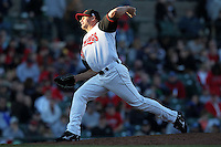 Rochester Red Wings relief pitcher Chuck James #4 delivers a pitch during a game against the Scranton Wilkes-Barre Yankees at Frontier Field on April 9, 2011 in Rochester, New York.  Rochester defeated Scranton 7-6 in twelve innings.  Photo By Mike Janes/Four Seam Images