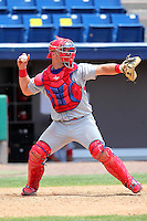 Clearwater Threshers catcher Cameron Rupp #51 during a game against the Brevard County Manatees at Space Coast Stadium on April 30, 2012 in Viera, Florida.  Clearwater defeated Brevard County 5-1.  (Mike Janes/Four Seam Images)