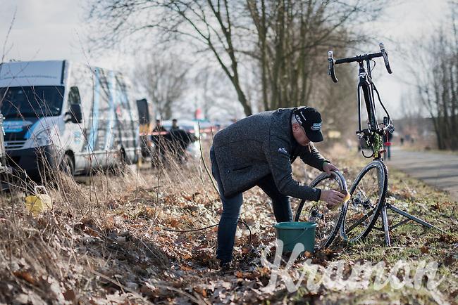 post-race bike clean<br /> <br /> CX Soudal Classics Leuven/Belgium 2017