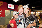 Chernobyl children Vinessa Kennerney, Dublin pictured with Katysia & Maryna after they arriving from Chernobyl at Shannon Airport. Picture Credit: Brian Gavin Press 22