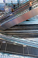Escalators in the very modern Berlin Central Station, which is  Europe's largest railway station.