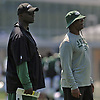 Todd Bowles, head coach, left, oversees practice during New York Jets Training Camp at Atlantic Health Jets Training Center in Florham Park, NJ on Tuesday, Aug. 1, 2017.