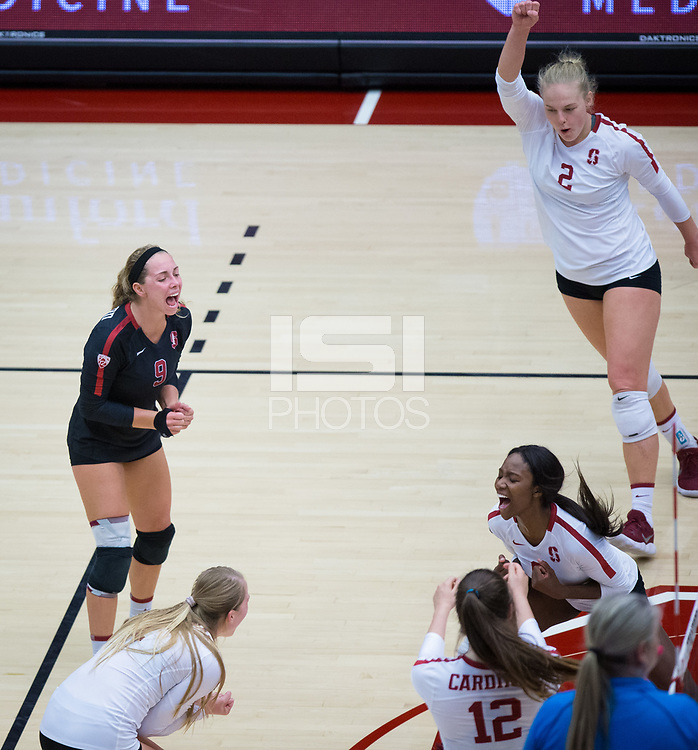STANFORD, CA - October 12, 2018: Morgan Hentz, Kathryn Plummer, Tami Alade, Jenna Gray, Audriana Fitzmorris at Maples Pavilion. No. 2 Stanford Cardinal swept No. 21 Washington State Cougars, 25-15, 30-28, 25-12.