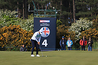 Bernd Wiesberger (AUT) on the 4th green during Round 3 of the Betfred British Masters 2019 at Hillside Golf Club, Southport, Lancashire, England. 11/05/19<br /> <br /> Picture: Thos Caffrey / Golffile<br /> <br /> All photos usage must carry mandatory copyright credit (&copy; Golffile | Thos Caffrey)