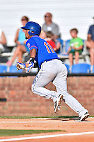 Kingsport Mets second baseman Luis Carpio (11) runs to first during a game against the  Johnson City Cardinals on June 25, 2015 in Johnson City, Tennessee. The Mets defeated the Cardinals 10-8 (Tony Farlow/Four Seam Images)