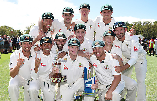 24.02.2016. Christchurch, New Zealand.  Australian Cricket players pose for a team photo as they celebrate winning the 2nd test match and going to #1 in the ICC test rankings. New Zealand Black Caps versus Australia. Hagley Oval in Christchurch, New Zealand. Wednesday 24 February 2016.