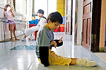 Peace Village ward at Tu Du Hospital in Ho Chi Minh City, Vietnam serves as a home for surviving child victims of Agent Orange, a controversial chemical agent contained dioxin, used by the U.S military during the Vietnam War. Children born to parents exposed to Agent Orange can be stillborn or born with birth defects, including skin disease, mental illness, and deformities.