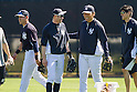 Ichiro Suzuki (Yankees), Hideki Matsui ,<br /> FEBRUARY 20, 2014 - MLB : (L-R) New York Yankees' Jacoby Ellsbury, Ichiro Suzuki, guest instructor Hideki Matsui and interpreter Rogelio Kahlon during the Yankees spring training baseball camp at George M. Steinbrenner Field in Tampa, Florida, United States.<br /> (Photo by Thomas Anderson/AFLO) (JAPANESE NEWSPAPER OUT)