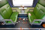 Amsterdam, 30 april 2011.Koninginnedag op en rond Amsterdam Centraal Station; achtergelaten rotzooi in de trein..Foto Felix Kalkman