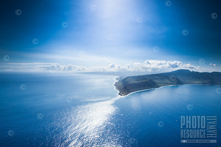 A midday aerial view of the tip of Ka'ena Point, Leeward O'ahu.