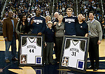 March 3, 2012:   Nevada Wolf Pack seniors Dario Hunt and Olek Czyz with their families and Nevada officials on senior night before the game against the Louisiana Tech Bulldogs  played at Lawlor Events Center on Saturday night in Reno, Nevada.