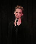 Anika Larsen performing at the Seth Rudetsky Book Launch Party for 'Seth's Broadway Diary' at Don't Tell Mama Cabaret on October 22, 2014 in New York City.