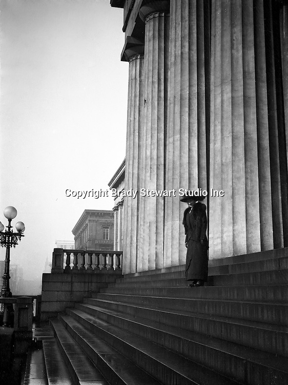Washington DC:  Sarah Stewart on the steps of the United States Capital - 1912. Brady and Sarah Stewart sightseeing in Washington DC while on their honeymoon.