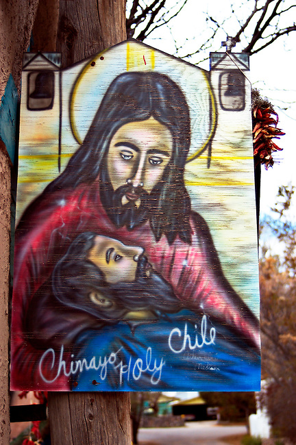 Sign of Jesus depiction used to advertise Holy .Chile in Chimayo, New Mexico