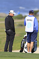 Graeme McDowell (NIR) and caddy Ken Comboy on the 5th hole of Monterey Peninsula CC during Saturday's Round 3 of the 2018 AT&amp;T Pebble Beach Pro-Am, held over 3 courses Pebble Beach, Spyglass Hill and Monterey, California, USA. 10th February 2018.<br /> Picture: Eoin Clarke | Golffile<br /> <br /> <br /> All photos usage must carry mandatory copyright credit (&copy; Golffile | Eoin Clarke)