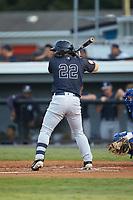 Antonio Cabello (22) of the Pulaski Yankees at bat against the Burlington Royals at Burlington Athletic Stadium on August 25, 2019 in Burlington, North Carolina. The Yankees defeated the Royals 3-0. (Brian Westerholt/Four Seam Images)