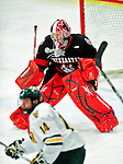 26 November 2010: Northeastern University Huskies' goaltender Chris Rawlings, a Sophomore from North Delta, British Columbia, in action against the University of Vermont Catamounts at Gutterson Fieldhouse in Burlington, Vermont. The Huskies came back from a 2-0 deficit to earn a 2-2 tie against the Catamounts. Mandatory Credit: Ed Wolfstein Photo