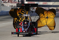 Nov 12, 2010; Pomona, CA, USA; NHRA top fuel dragster driver Scott Palmer during qualifying for the Auto Club Finals at Auto Club Raceway at Pomona. Mandatory Credit: Mark J. Rebilas-