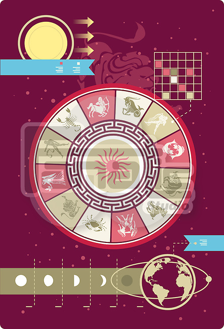 Illustrative image of astrology signs in infographic style