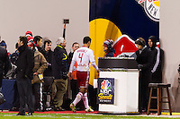 Rafa Marquez (4) of the New York Red Bulls walks to the locker room after being red carded. D. C. United defeated the New York Red Bulls 1-0 (2-1 in aggregate) during the second leg of the MLS Eastern Conference Semifinals at Red Bull Arena in Harrison, NJ, on November 8, 2012.