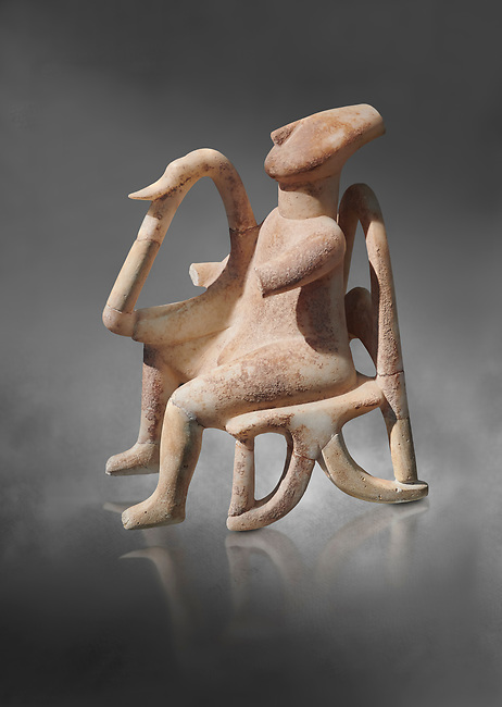 The 'Harpist of Keros' a seated parian marble female Cycladic figurine. Early Cycladic Period II (2800-2300 BC) from Keros, Cat no 3908. National Archaeological Museum, Athens.   Gray background.<br /> <br /> <br /> This elaborate three dimesional Cyladic statue known as the 'Harpist of Keros' depicts a seated figure plaung a harp. Its execution required an experienced workshop that could file away the parian marble with gronze tools.