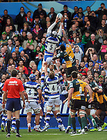 Dave Attwood rises high to win lineout ball. Amlin Challenge Cup Final, between Bath Rugby and Northampton Saints on May 23, 2014 at the Cardiff Arms Park in Cardiff, Wales. Photo by: Patrick Khachfe / Onside Images
