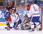 Brian Boyle, Matt Collar, Cory Schneider, Jeremy Hall - The Boston College Eagles defeated the University of Massachusetts-Lowell River Hawks 4-3 in overtime on Saturday, January 28, 2006, at the Paul E. Tsongas Arena in Lowell, Massachusetts.