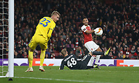 Arsenal's Pierre-Emerick Aubameyang goes close in the second half<br /> <br /> Photographer Rob Newell/CameraSport<br /> <br /> UEFA Europa League Round of 32 Second Leg - Arsenal v BATE Borisov - Thursday 21st February 2019 - The Emirates - London<br />  <br /> World Copyright © 2018 CameraSport. All rights reserved. 43 Linden Ave. Countesthorpe. Leicester. England. LE8 5PG - Tel: +44 (0) 116 277 4147 - admin@camerasport.com - www.camerasport.com