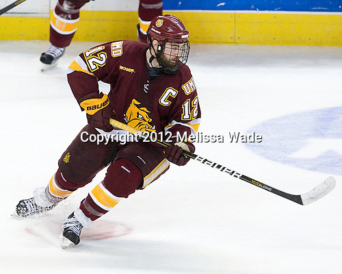 Jack Connolly (Duluth - 12) - The Boston College Eagles defeated the University of Minnesota Duluth Bulldogs 4-0 to win the NCAA Northeast Regional on Sunday, March 25, 2012, at the DCU Center in Worcester, Massachusetts.
