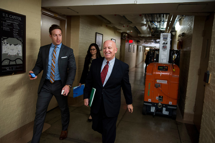 UNITED STATES - OCTOBER 26: Rep. Kevin Brady, R-Texas, arrives for the House Republican Conference meeting in the basement of the Capitol on Monday evening, Oct. 26, 2015. (Photo By Bill Clark/CQ Roll Call)