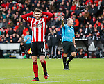 Oliver Norwood of Sheffield Utd reacts after missing the goal during the Premier League match at Bramall Lane, Sheffield. Picture date: 9th February 2020. Picture credit should read: Simon Bellis/Sportimage