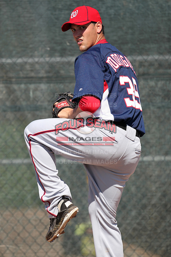 Washington Nationals pitcher Manny Rodriguez #39 during an Instructional League game against the national team from Italy at Carl Barger Training Complex on September 28, 2011 in Viera, Florida.  (Mike Janes/Four Seam Images)