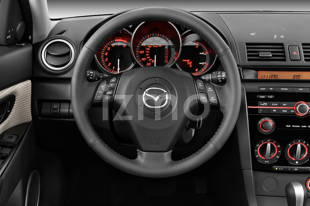 Steering wheel view of a 2009 Mazda3 5-Door Sport