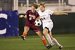 07 November 2008: Virginia Tech's Kelly Lynch (6) and Virginia's Colleen Flanagan (24). The University of Virginia and Virginia Tech played to a 1-1 tie after 2 overtimes at WakeMed Stadium at WakeMed Soccer Park in Cary, NC in a women's ACC tournament semifinal game.  Virginia Tech advanced to the final on penalty kicks, 2-1.