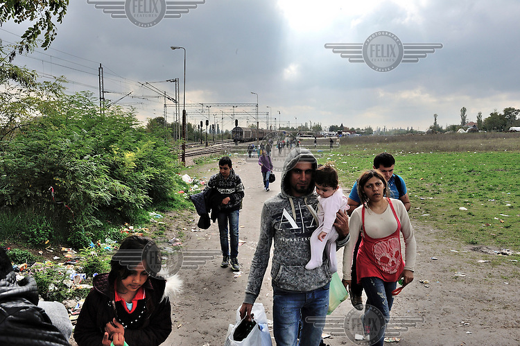 A Syrian family group walks towards the border with Serbia from the Tabanovce rest area, where trains arrive from the Vinojug Reception Center. Refugees and migrants must walk three kilometers across fields to the Serbian border post, from where buses will take them to be registered by Serbian authorities at Preshevo Reception Center. /Felix Features