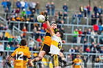 Ambrose O'Donovan Dr Crokes and greg Horan Stacks challenge for the high ball during their County Championship clash in Fitzgerald Stadium on sunday